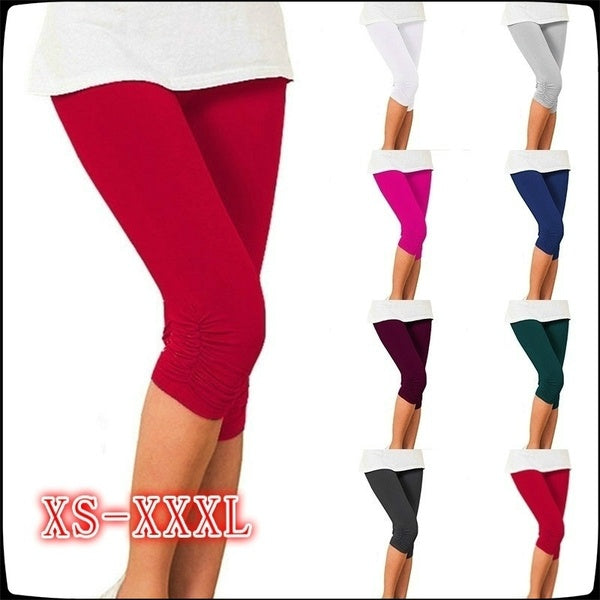 New Fashion Ladies Short Tights Stretch Tights Casual Slim Feet Cotton Pencil Pants Short Paragraph 7 Points Pants