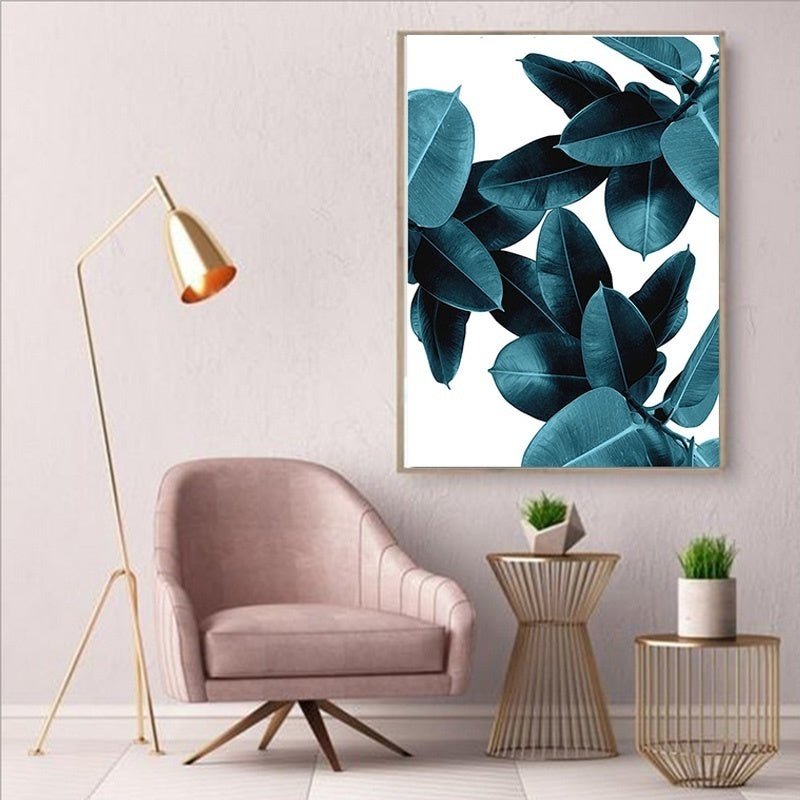 Nordic Style Modern Abstract Pink Flowers Green Plants Poster Print Canvas Painting Pictures No Frame