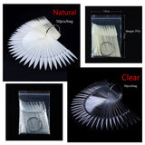50pcs/set Hot Sale Natural Clear Fan Shaped False Nail Display Board Nail Art Practice Tools DIY Acrylic UV Polish Color Card