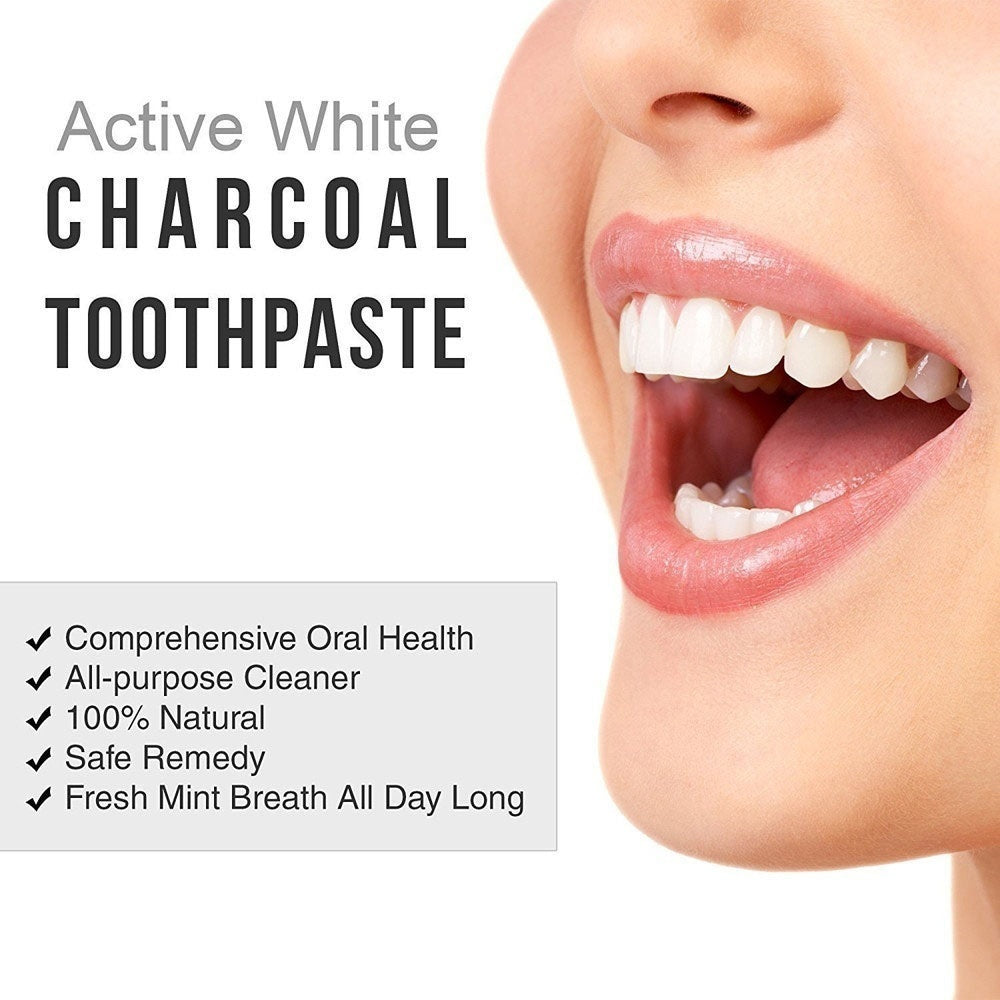 Hot Teeth Toothpaste Professional Natural Organic Teeth Whitening Powder Bamboo Toothpaste Activated Coconut Charcoal  With 1Pc Toothbursh