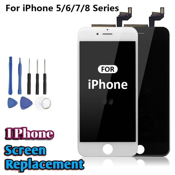 Replacement LCD Display Touch Screen Digitizer Assembly Front Panel Kit for IPhone 5 5S 6 6S Plus IPhone 7 8 + Disassembly Tools