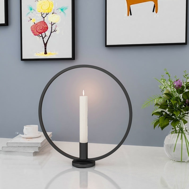 1Pcs Decorative Candlestick Metal Iron Round Candle Holder Centerpiece Table Ornaments Home Decor