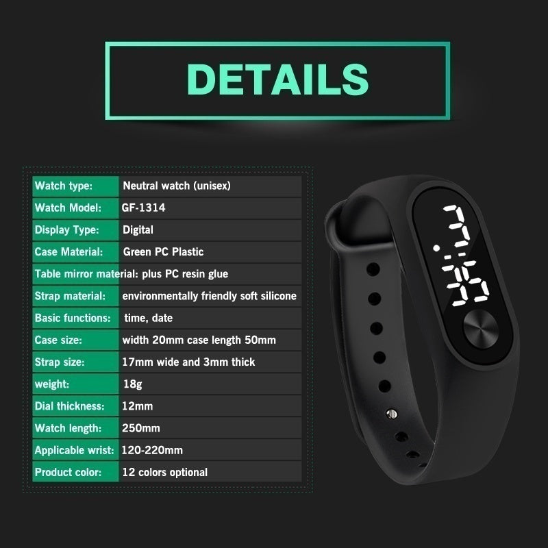 Men Women LED Digital Watch Luxury White Light Touch Screen Silicone Strap Wristwatch Sports Yoga Bracelets Watches Kids Clocks