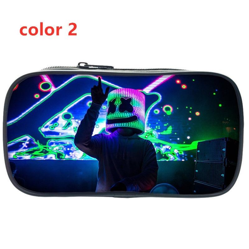 2019 Big Zipper Marshmello Pencil Case Big Capacity Canvas 3D Printing School Pencil Bag Storage Bag Makeup Case Coin Purse