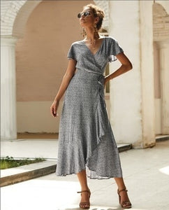 Women's Boho Maxi Dresses Polka Dot Printed Robes Sexy Cocktail Long Party Dresses