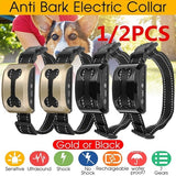 1/2pcs 7 Gears Anti Bark No Barking Electric Shock Training Collar Dog Pet Ultrasonic Waterproof black/Gold