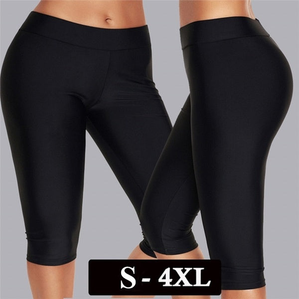 Women Simple Plain Swim Leggings Swim Pants