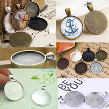 将图片加载到图库查看器,80pcs Round Pendant Trays Glass Cabochon Base 8 color Jewelry Making Crafts Gift