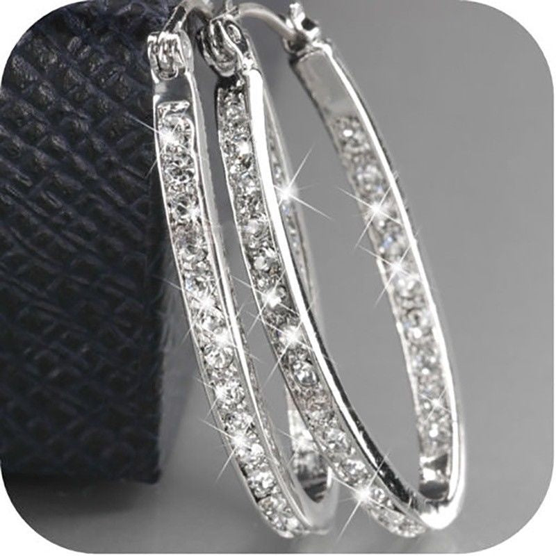 Dazzling Elegant Women Fashion 925 Sterling Silver Solid 14k Yellow Gold Earring Natural Gemstone Diamond Hoop Earrings Wedding Jewelry Gifts