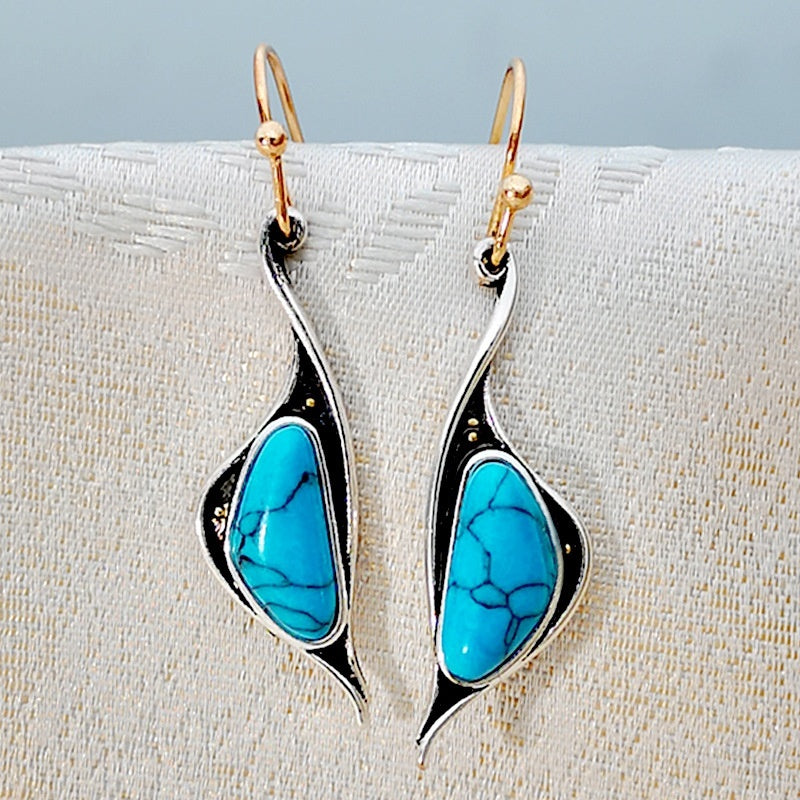 925 Sterling Silver Turquoise Earrings Dangle Hoop Earring Anniversary Proposal Gift Party Engagement Wedding Jewelry