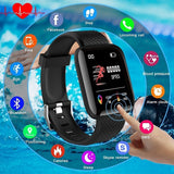 Smart Watch Bluetooth Sports Watch USB Rechargeable Heart Rate Oxygen Pressure Sleep Monitor Blood Pressure Passometer Alarm Clock Wristwatch Wearable Device for Men Women Kids