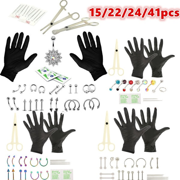 15/22/24/41pcs Body Piercing Tools Professional Piercing Tool Kit Sterile Belly Body Ring Needle Sets Cartilage Tools