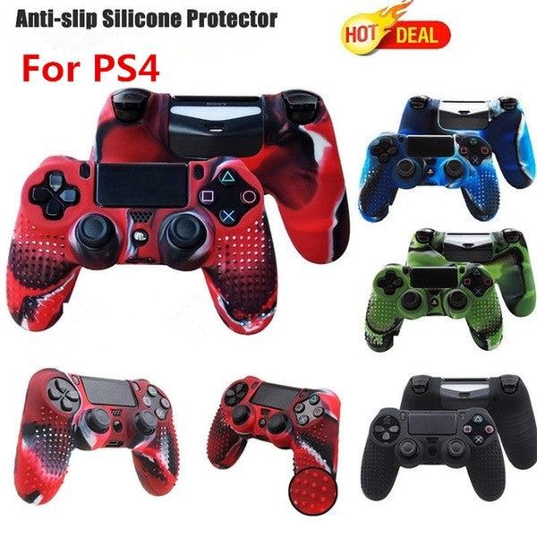 Camouflage Silicone Rubber Skin Grip Cover Case for PS4 Controller Black Blue Red Green 4 Colors
