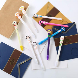 2/5/10 Pieces Doctor and Nurse Polymer Clay Ballpoint Pens Cute Cartoon Ballpoint 0.5 mm Writing Stationery for School Office Supplies