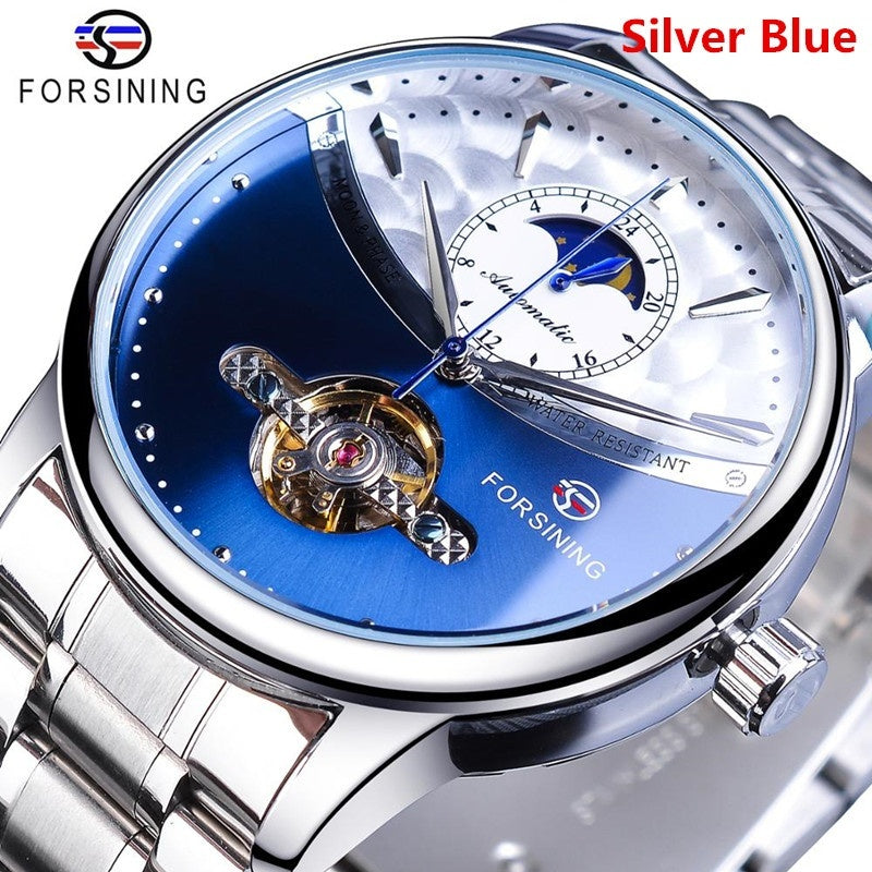 Forsining Blue Moon Phase Automatic Mens Watches Business Watch Casual Steel Strap Waterproof Sport Mechanical Relogio Masculino