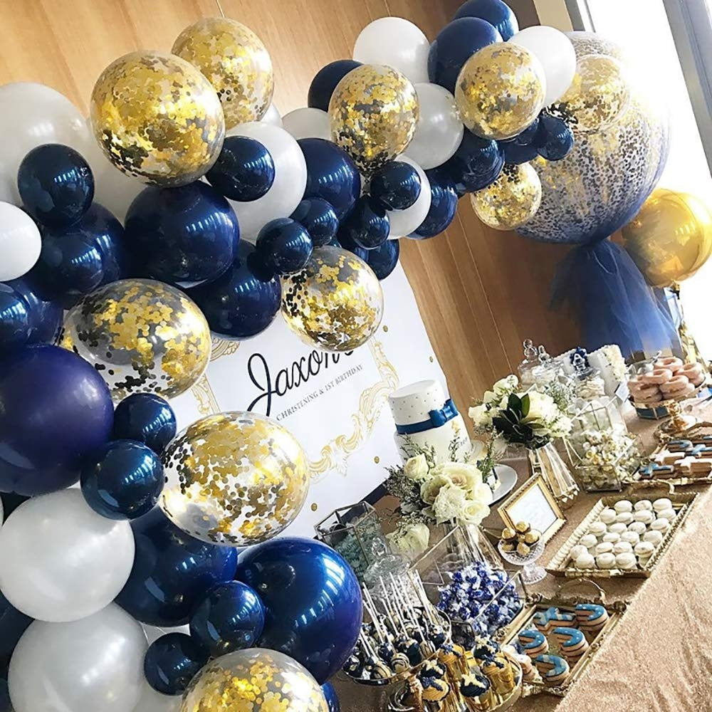 60pcs/set Navy Blue White Matte and Gold Confetti Gold Chrome Balloons for The Little Prince Party, navy party
