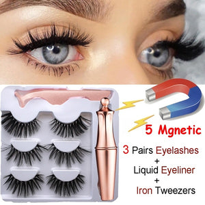 3 Pairs Magnetic Eyelashes with 1Pc Magnetic Liquid Eyeliner with Tweezers 5 Magnetic 3D Mink False Eyelashes Natural and Long Eye Makeup Lashes Extension