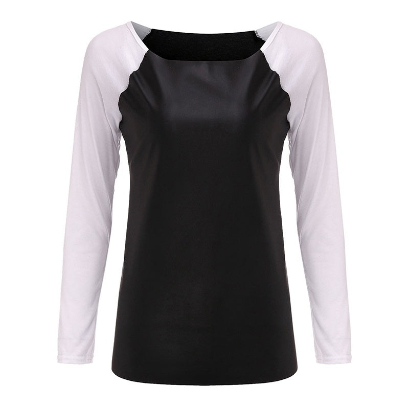 Fashion Contrast Color Slim Shirts Women Casual Long Sleeve PU Leather Patchwork Blouses