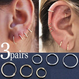 3pairs Simple Vintage Circle Small Hoop Earrings Set Women Punk Personality Earring Trendy Causal Party Jewelry Set Accessories Gift