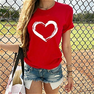 New Summer Fashion Women Short Sleeve Round Neck Cute Heart Sharp Printed Plus Size Casual Tshirts Lady Workout Tee Love Shirts S-XXXXXL