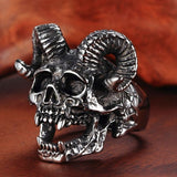 Retro Punk Sheep Head Ring Gothic Skull Ring Men'S Ring Fashion Jewelry Jewelry Halloween decor Gifts