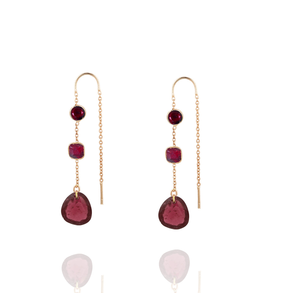 Wine Chain Drop Earrings