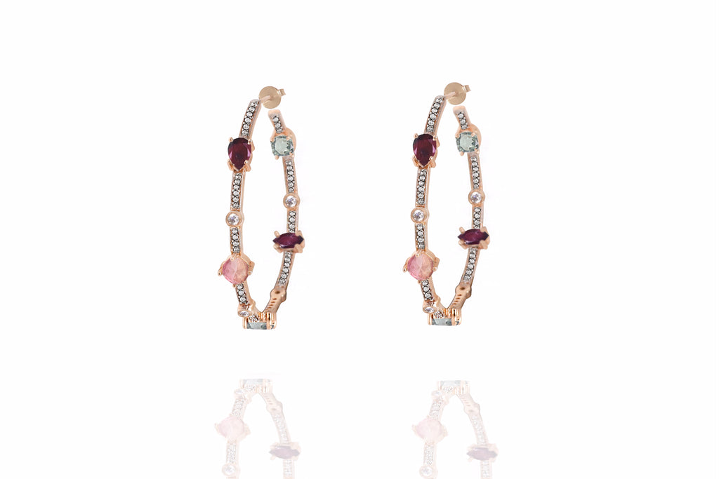 Rouge Pave Gemstone Hoops
