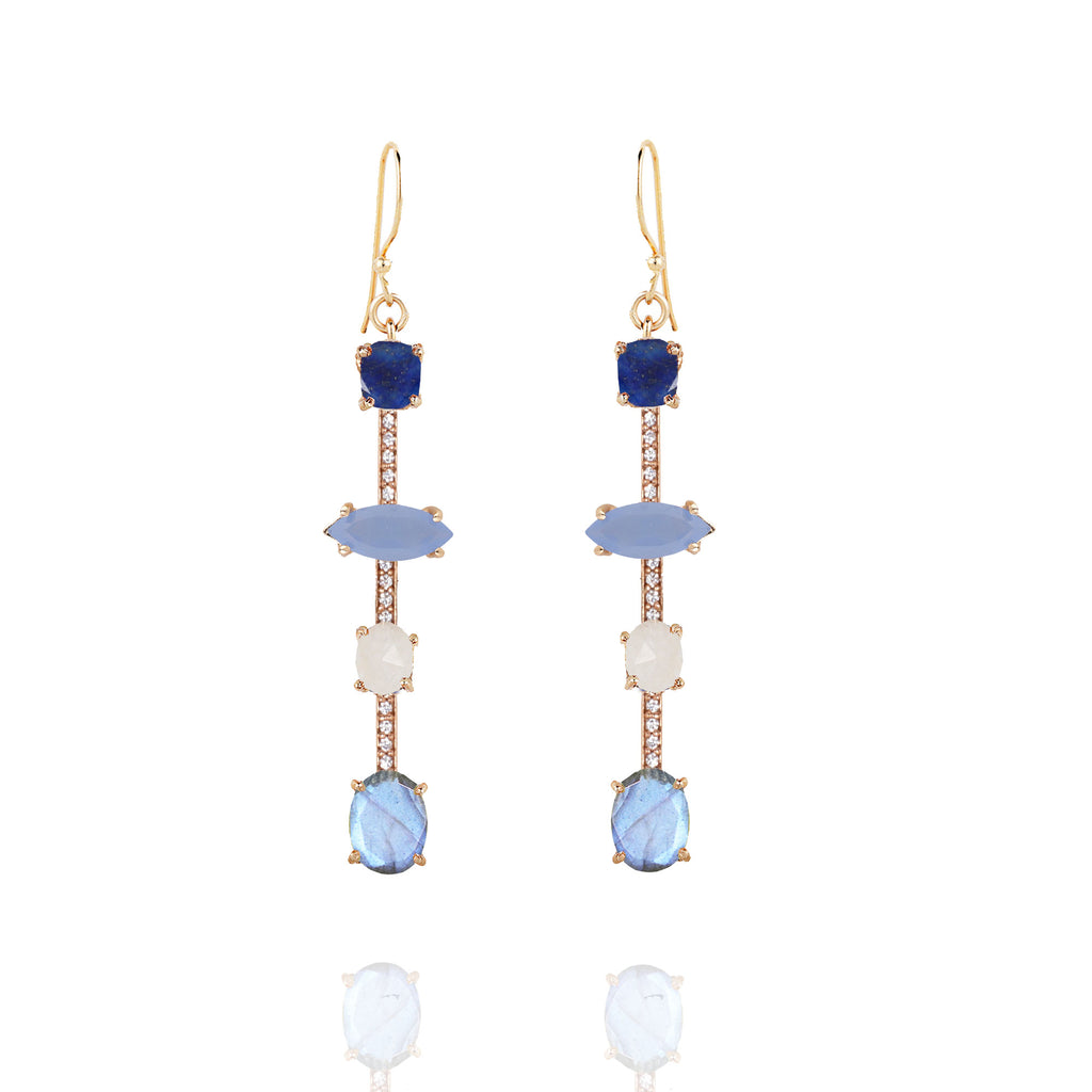 Cerulean 4 Stone Pave Bar Earrings