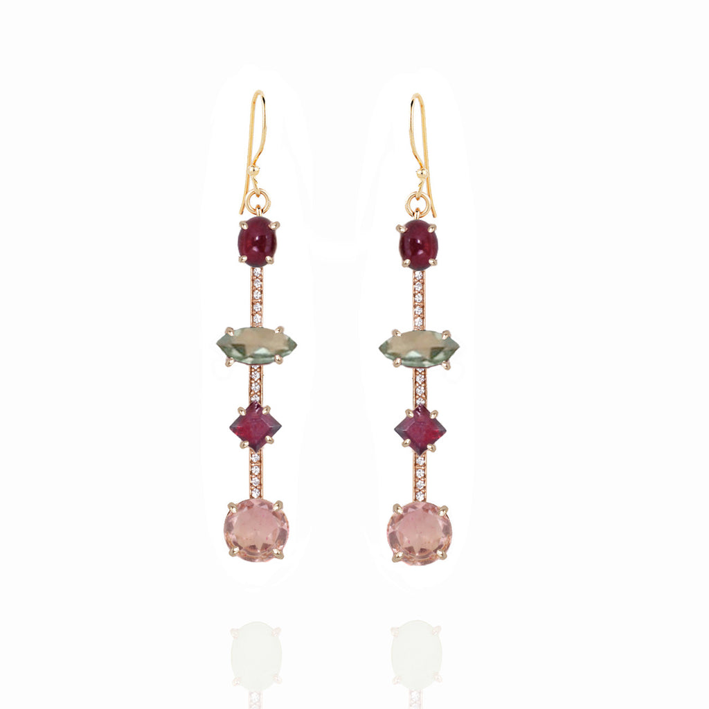 Rouge 4 Stone Pave Bar Earrings