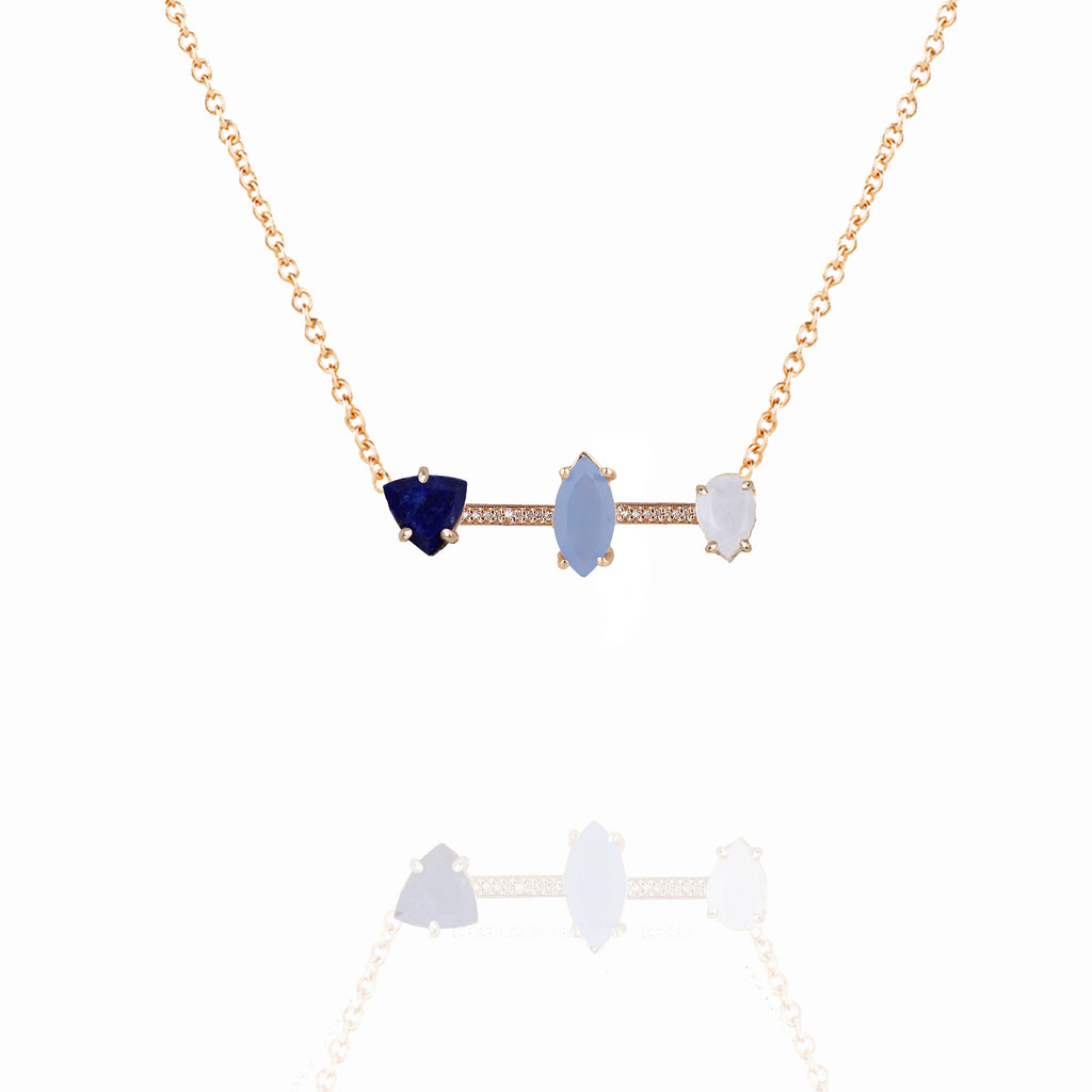 Cerulean 3 Stone Pave Bar Necklace