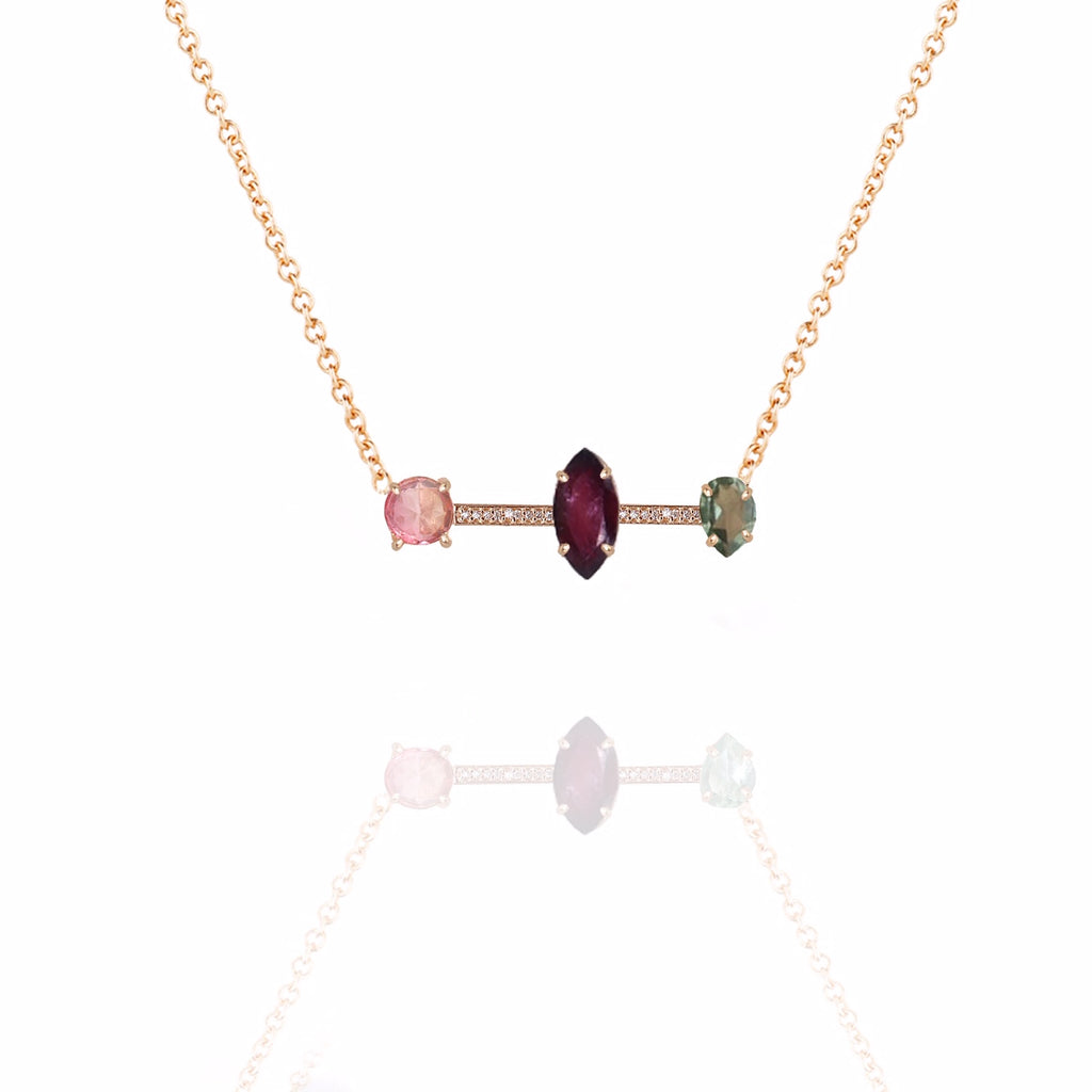 Rouge 3 Stone Pave Bar Necklace