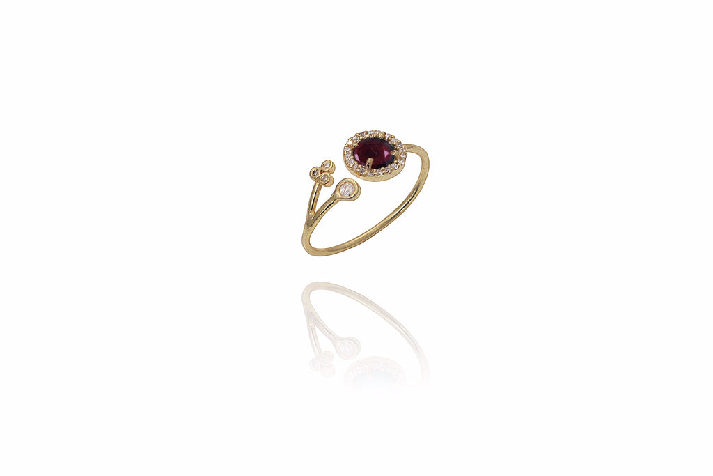 Wine Pave Ring