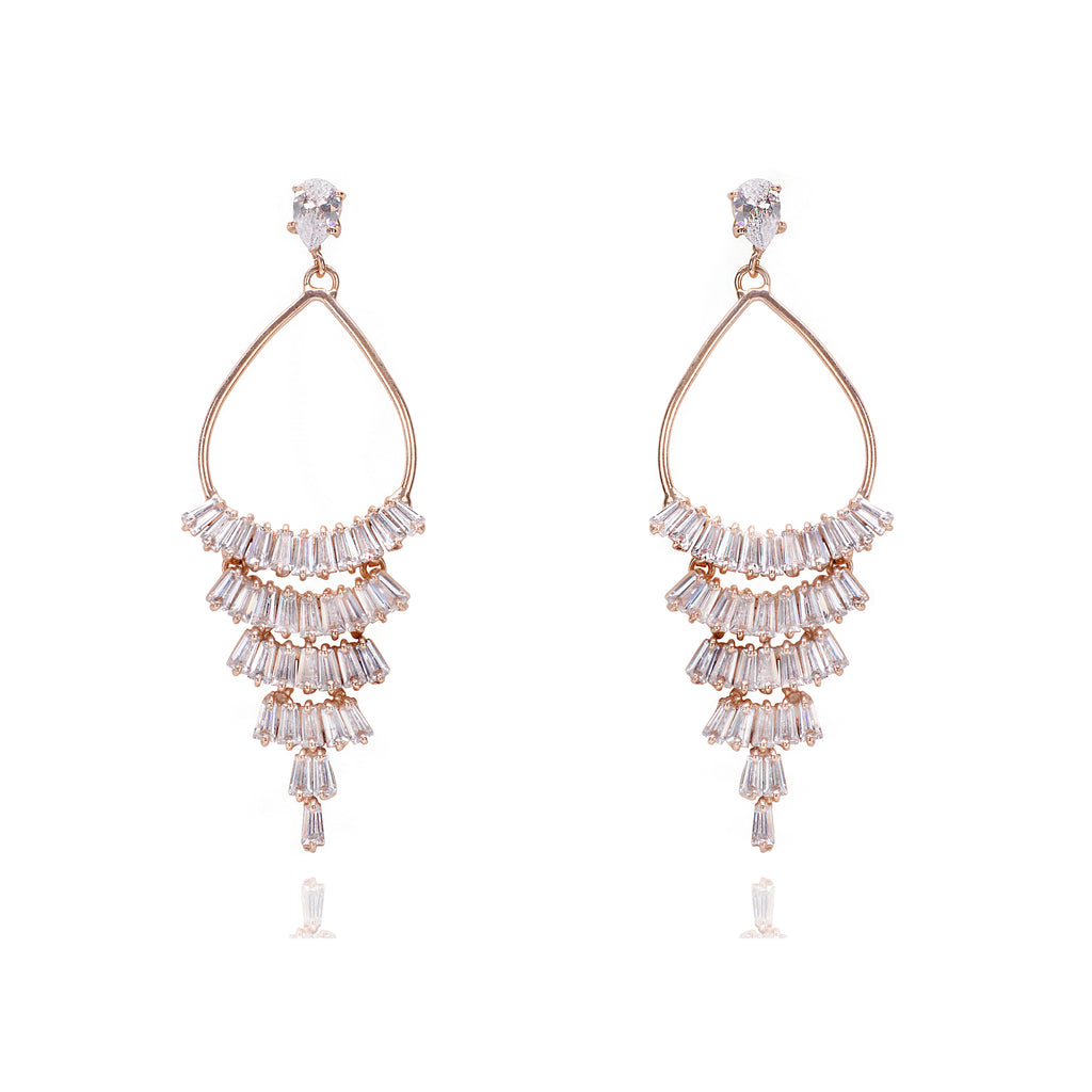 Baguette Zirconia Chandelier Earrings
