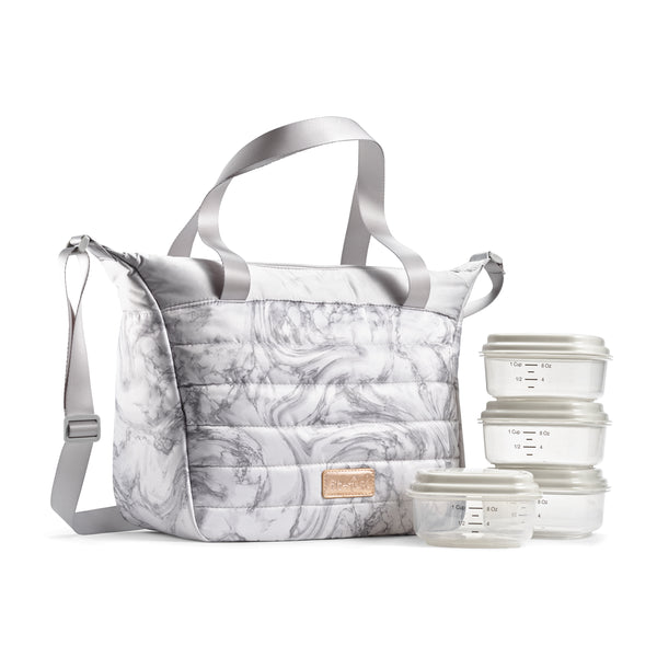 Gray Marble Wayland Quilted Lunch Bag