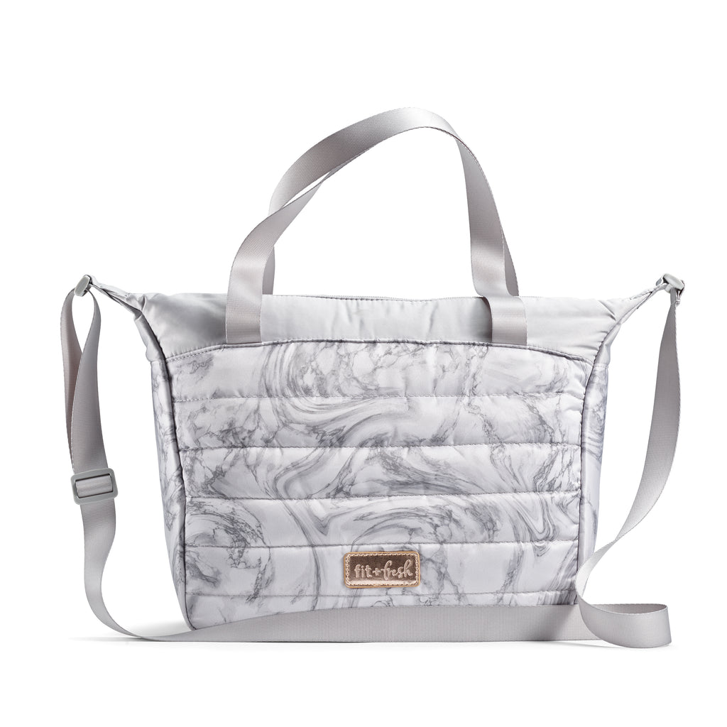 GRAY MARBLE WAYLAND QUILTED TOTE