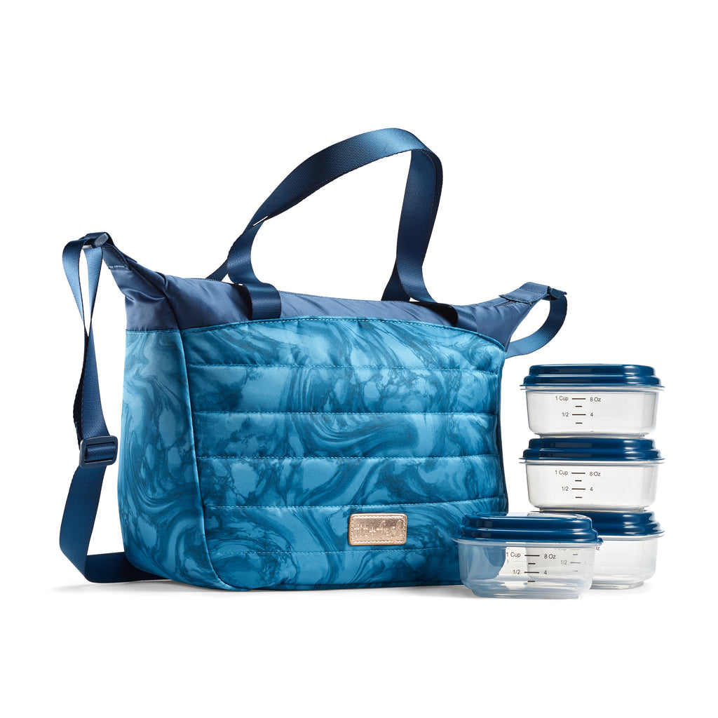 Midnight Marble Wayland Quilted Lunch Bag