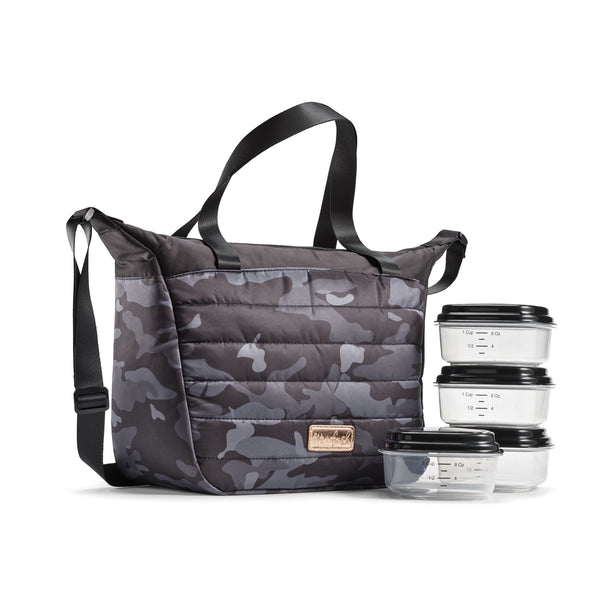 BLACK CAMO WAYLAND QUILTED TOTE