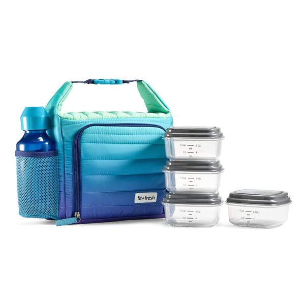 Ombre Blue Kennedy Quilted Lunch Bag