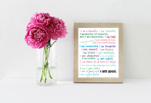 I am good printable affirmations next to a jar of pink peonies