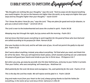 13 Bible Verses on Overcoming Disappointment Printable