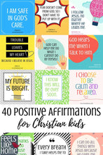 Load image into Gallery viewer, 40 positive affirmations for Christian kids - You will find tons of encouragement and inspiration for anxiety and anxious, worried thoughts in these 40 printable positive affirmations cards for Christian kids. Calm, peaceful thoughts for kids with anxiety, these inspiring words will expose the truths of God's word in a meaningful, repeatable way.