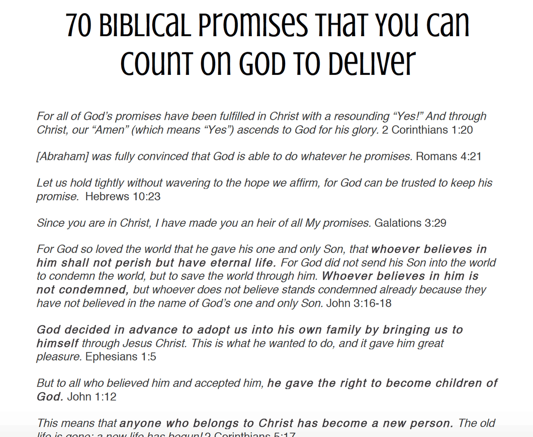 70 Biblical Promises That You Can Count on God to Deliver Printable