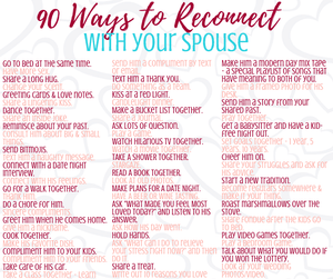 90 Ways to Reconnect with Your Spouse