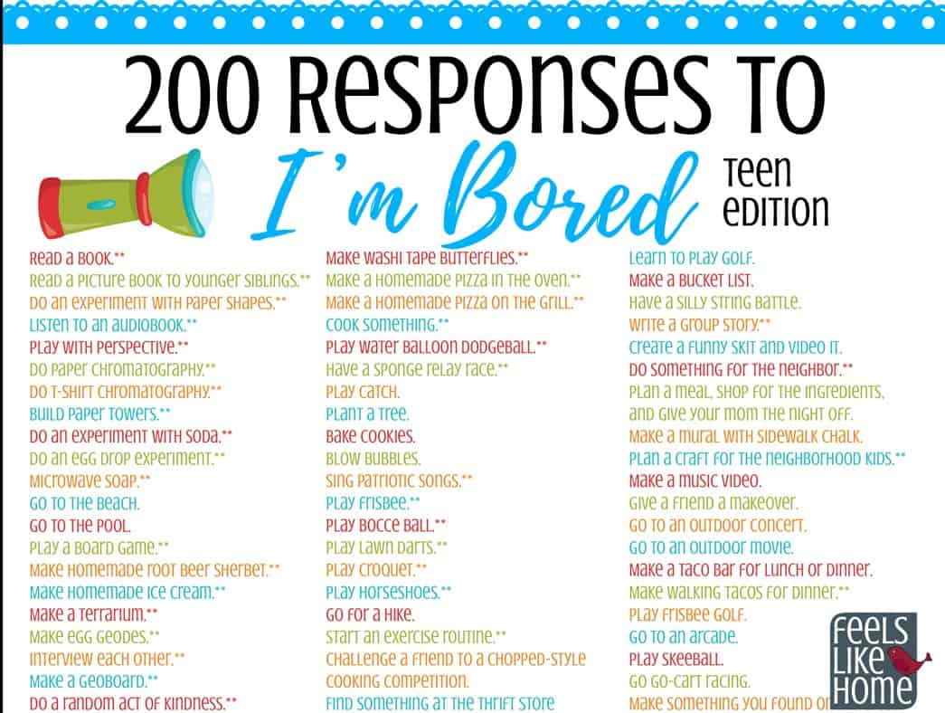 The Ultimate List of Things for Tweens & Teens to Do When They're Bored – Printable of 200+ Ideas