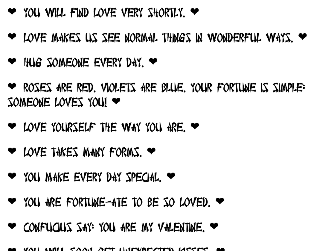 Valentine Fortune Cookie Sayings