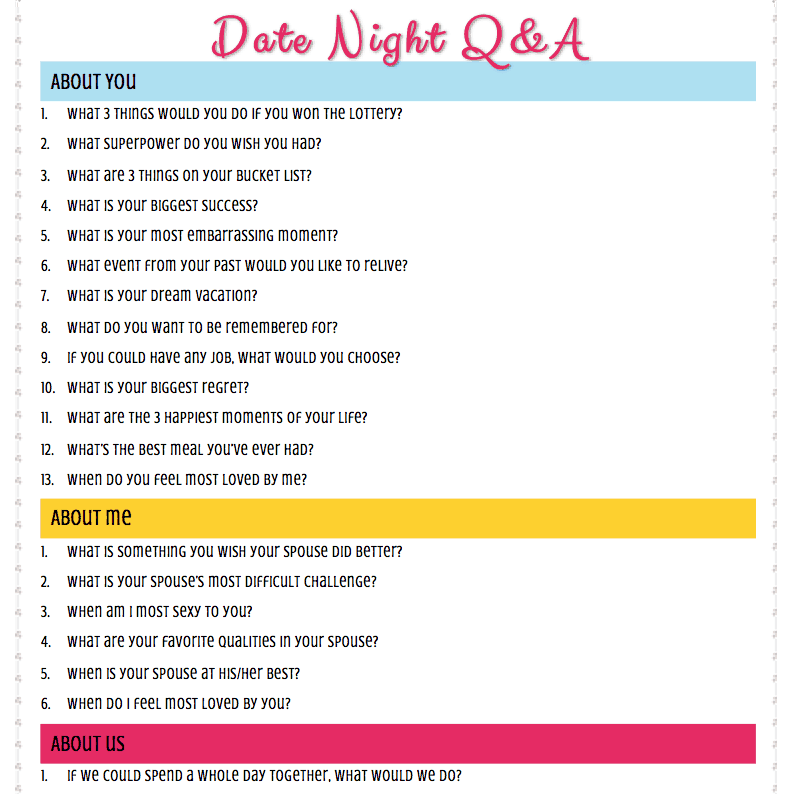 Date Night Questions - Conversation Starters for Married Couples