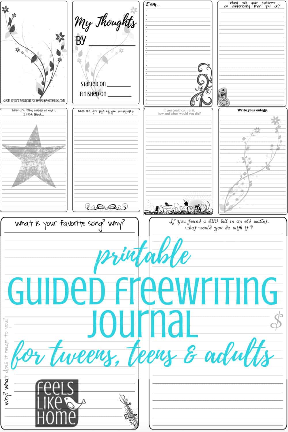My Thoughts: A Printable Guided Freewriting Journal for Tweens, Teens, & Adults