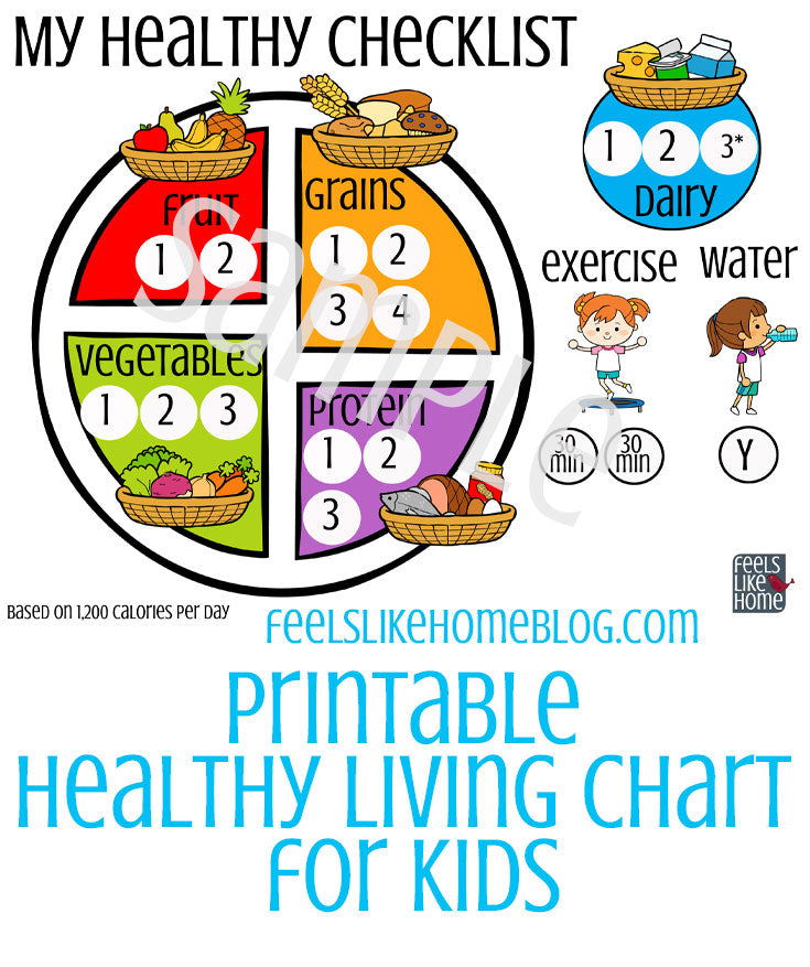 Printable for Kids to Track Healthy Living