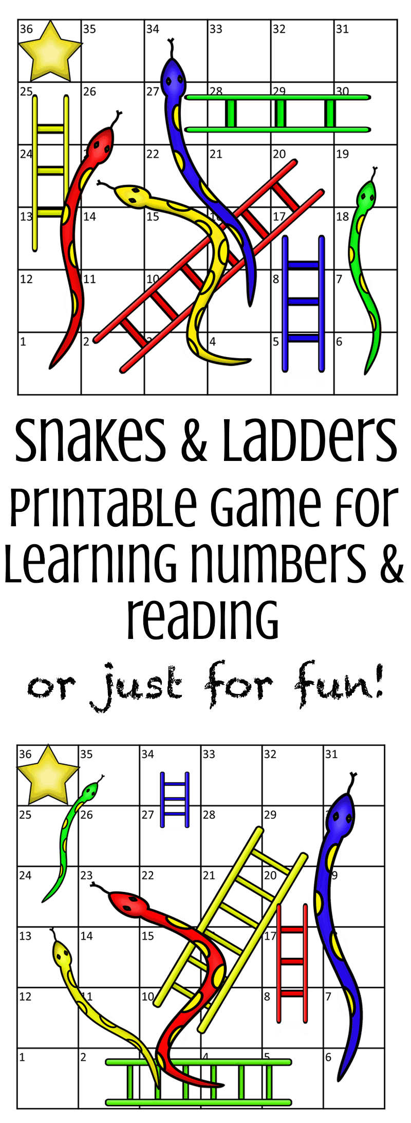 Printable Snakes & Ladders Game