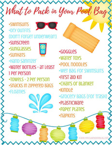 What to Pack in Your Pool Bag - Printable Checklist